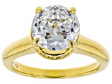 White Cubic Zirconia Scintillant Cut 18k Yellow Gold Over Sterling Silver Solitaire Ring 4.97ctw