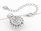 White Cubic Zirconia Rhodium Over Sterling Silver Center Design Pendant With Chain