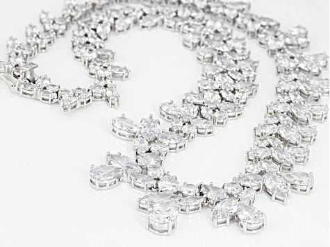 White Cubic Zirconia Rhodium Over Sterling Silver Statement Necklace 147.21ctw