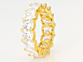 White Cubic Zirconia 18K Yellow Gold Over Sterling Silver Ring 15.26ctw