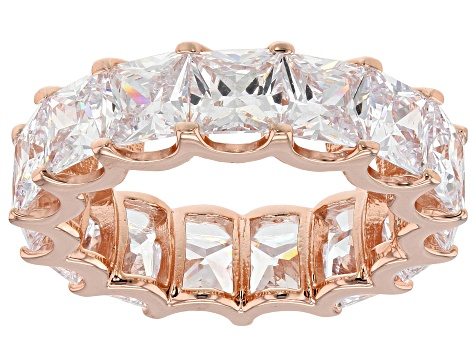 White Cubic Zirconia 18K Rose Gold Over Sterling Silver Ring 15.26ctw