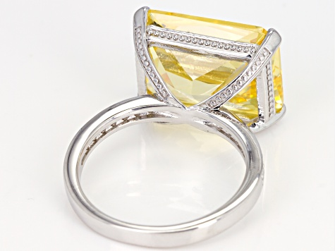 Yellow & White Cubic Zirconia Rhodium Over Sterling Silver Statement Ring 19.73ctw