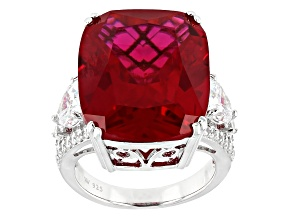 Lab Created Ruby & White Cubic Zirconia Rhodium Over Sterling Silver Ring 28.13ctw