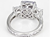 White Cubic Zirconia Rhodium Over Sterling Silver 3 Stone Ring 9.83ctw