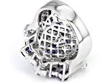 Blue & White Cubic Zirconia Rhodium Over Sterling Silver Cluster Ring 7.97ctw