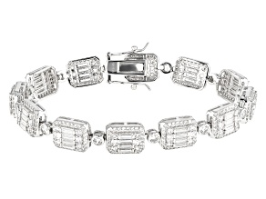 White Cubic Zirconia Rhodium Over Sterling Silver Cluster Bracelet 12.89ctw