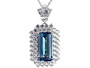 Lab Created Blue Spinel & White Cubic Zirconia Rhodium Over Silver Pendant With Chain 21.37ctw