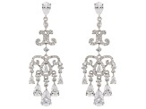 White Cubic Zirconia Rhodium Over Sterling Silver Cluster Earrings 10.43ctw