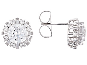 White Cubic Zirconia Rhodium Over Sterling Silver Earrings 7.84ctw