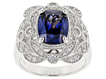 Picture of Blue & White Cubic Zirconia Rhodium Over Sterling Silver Center Design Ring 5.84ctw