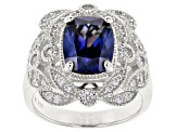 Blue & White Cubic Zirconia Rhodium Over Sterling Silver Center Design Ring 5.84ctw