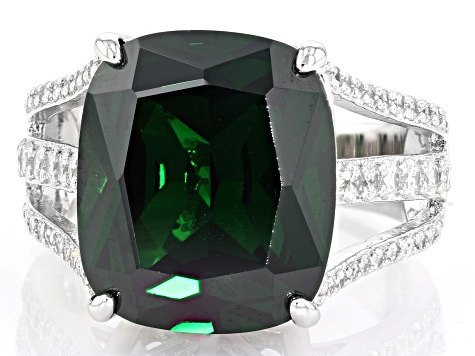 Green & White Cubic Zirconia Rhodium Over Sterling Silver Center Design Ring 18.71ctw