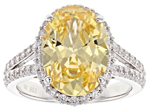 Yellow & White Cubic Zirconia Rhodium Over Sterling Silver Center Design Ring 9.84ctw