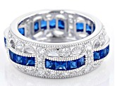 Lab Created Blue Spinel & White Cubic Zirconia Rhodium Over Sterling Silver Band Ring 3.99ctw