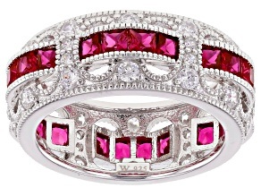 Lab Created Ruby & White Cubic Zirconia Rhodium Over Sterling Silver Band Ring 3.99ctw