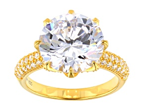 White Cubic Zirconia 18K Yellow Gold Over Sterling Silver Center Design Ring 10.56ctw