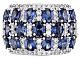 Blue & White Cubic Zirconia Rhodium Over Sterling Silver Cluster Ring 10.62ctw