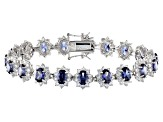 Blue & White Cubic Zirconia Rhodium Over Sterling Silver Tennis Bracelet 37.43ctw