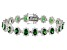 Green & White Cubic Zirconia Rhodium Over Sterling Silver Tennis Bracelet 37.43ctw