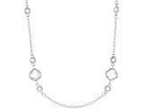 White Cubic Zirconia Rhodium Over Sterling Silver Station Necklace 19.74ctw