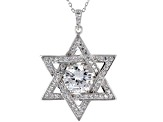 White Cubic Zirconia Rhodium Over Sterling Silver Star Of David Pendant With Chain