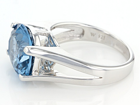 Lab Created Blue Spinel Rhodium Over Sterling Silver Ring 5.58ct