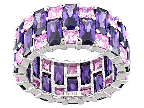 Purple And Pink Cubic Zirconia Silver Ring 16.81ctw