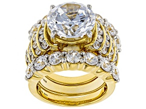 White Cubic Zirconia 18K Yellow Gold Over Sterling Silver Ring With Bands 19.68CTW