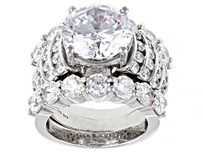 White Cubic Zirconia Rhodium Over Sterling Silver Ring With Bands 19.68CTW