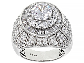 White Cubic Zirconia Rhodium Over Sterling Silver Ring 9.29ctw