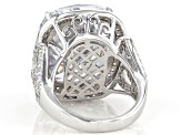 White Cubic Zirconia Rhodium Over Sterling Silver Ring 46.03ctw