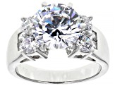 White Cubic Zirconia Rhodium Over Sterling Silver Ring 8.09ctw