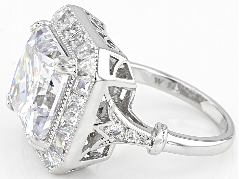 White Cubic Zirconia Rhodium Over Sterling Silver Ring 15.34ctw