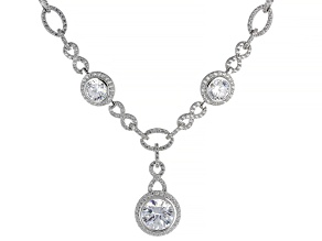 White Cubic Zirconia Rhodium Over Sterling Silver Necklace 16.50ctw