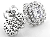 White Cubic Zirconia Rhodium Over Sterling Silver Stud Earrings 7.52ctw