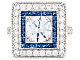 Lab Created Blue Spinel and White Cubic Zirconia Rhodium Over Silver Ring 5.38ctw