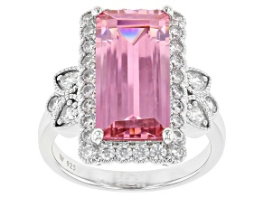 Pink and White Cubic Zirconia Rhodium Over Sterling Silver Ring 11.37ctw