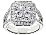 White Cubic Zirconia Rhodium Over Sterling Silver Ring 3.19ctw