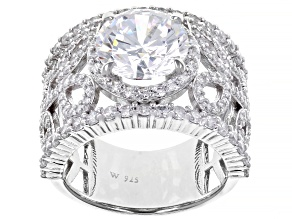 White Cubic Zirconia Rhodium Over Sterling Silver Ring 10.20ctw