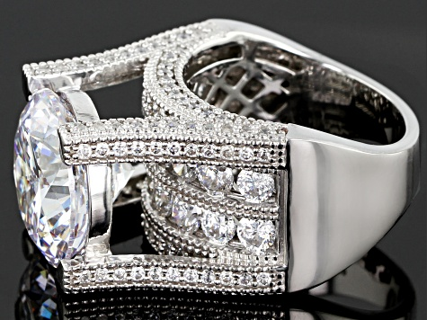 White Cubic Zirconia Rhodium Over Sterling Silver Ring 22.65ctw