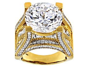 White Cubic Zirconia 18k Yellow Gold Over Sterling Silver Ring 22.65ctw