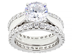 White Cubic Zirconia Rhodium Over Sterling Silver Rings-Set of 3 7.58ctw
