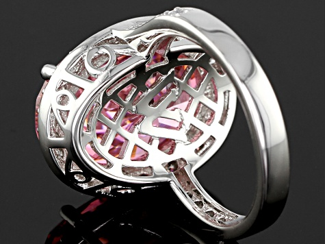 Pink and White Cubic Zirconia Rhodium Over Sterling Silver Ring 19.03ctw