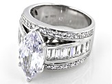 White Cubic Zirconia Rhodium Over Sterling Silver Ring 11.33ctw