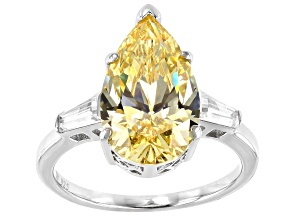 Yellow And White Cubic Zirconia Rhodium Over Sterling Silver Ring 11.33ctw
