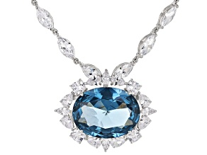Lab Created Blue Spinel And White Cubic Zirconia Rhodium Over Sterling Silver Necklace 97.20ctw