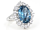 Lab Created Blue Spinel And White Cubic Zirconia Rhodium Over Sterling Silver Ring 12.74ctw