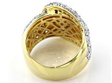 White Cubic Zirconia 18k Yellow Gold Over Sterling Silver Buckle Ring 3.53ctw