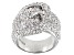 White Cubic Zirconia Rhodium Over Sterling Silver Buckle Ring 3.53ctw