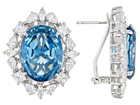 Lab Created Blue Spinel And White Cubic Zirconia Rhodium Over Sterling Silver Earrings 24.38ctw